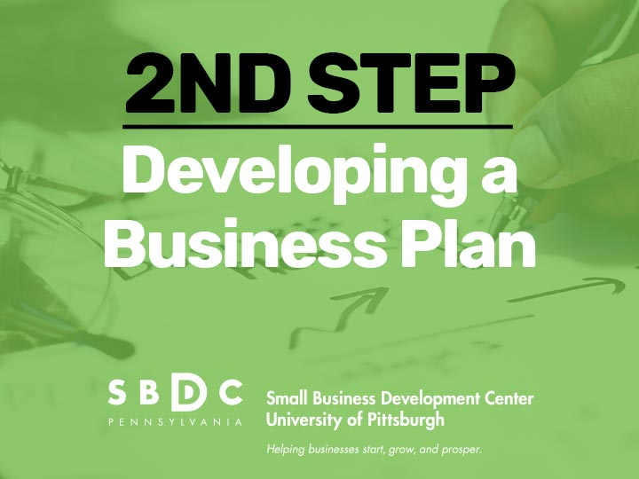 2nd step Developing a Business Plan graphic with businessman mapping a business plan in the background