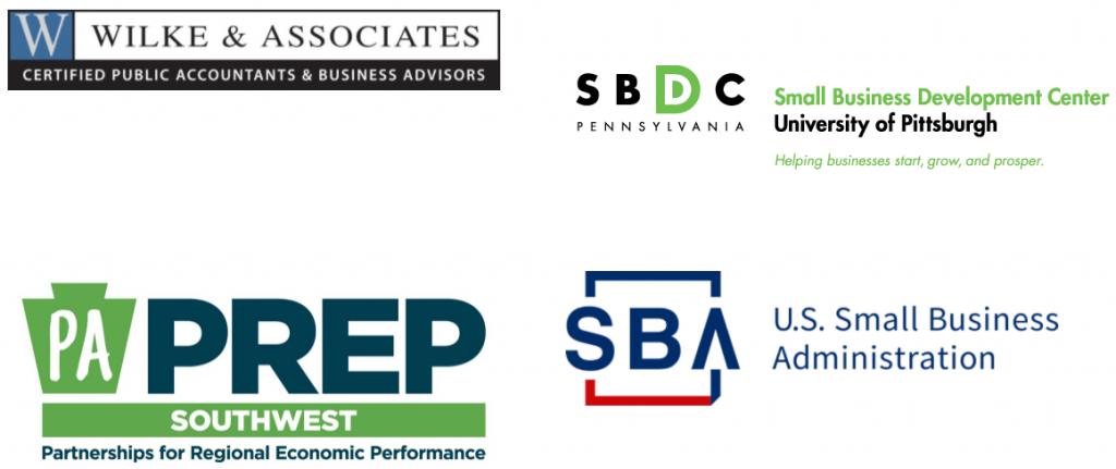 Wilke & Associates logo, Pitt SBDC logo, PA PREP logo, and U.S. Small business Administration Logo