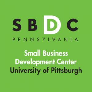 Pitt SBDC Pennsylvania Small Business Development Center University of Pittsburgh logo on green background