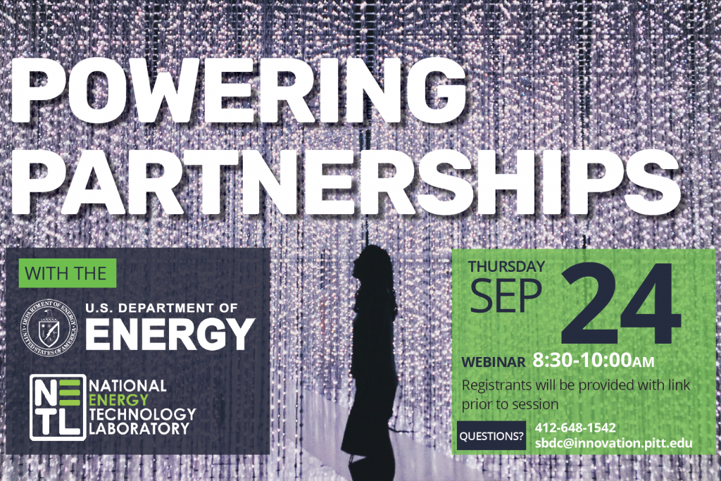 Powering Partnerships banner with woman's silhouette in front of LED light wall