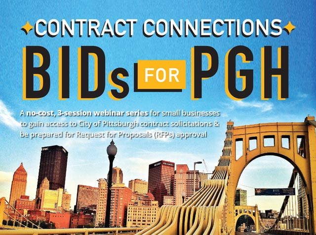 Bids for PGH in the blue sky of the Pittsburgh city skyline