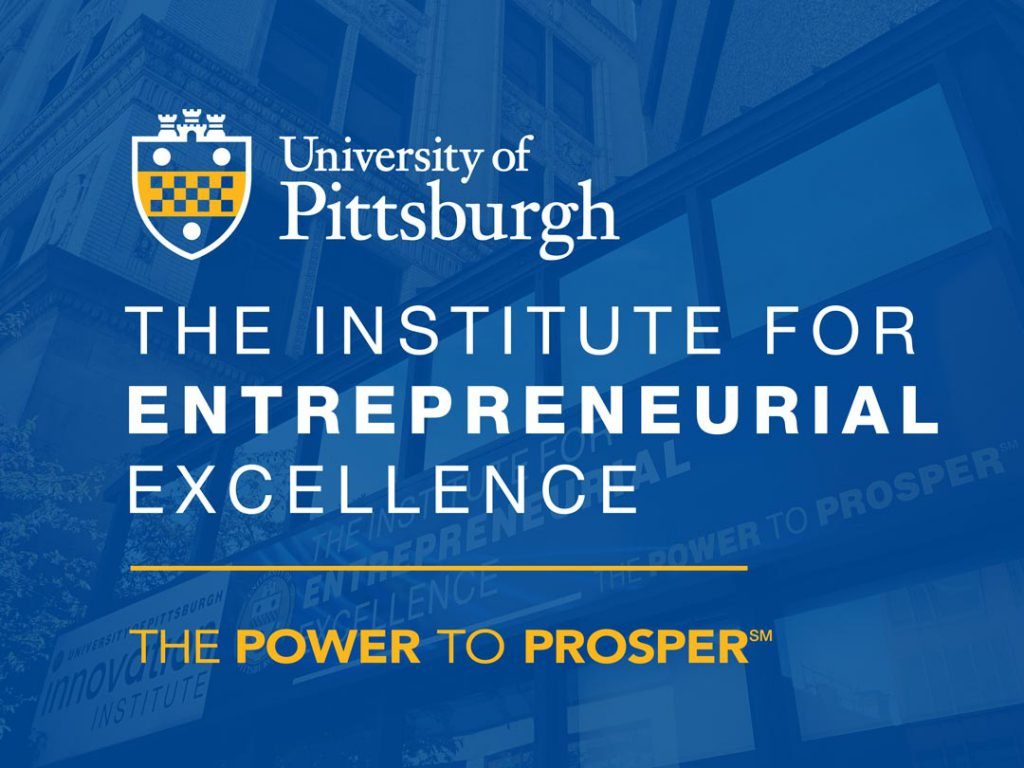IEE logo with IEE building in the background with a Pitt blue overlay