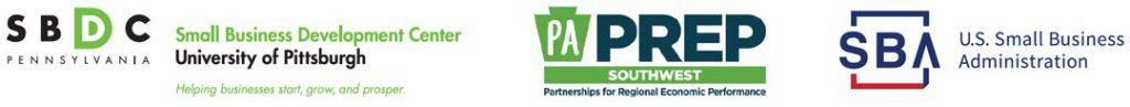 Pitt SBDC, PA PREP, and U.S. SBA logos side by side