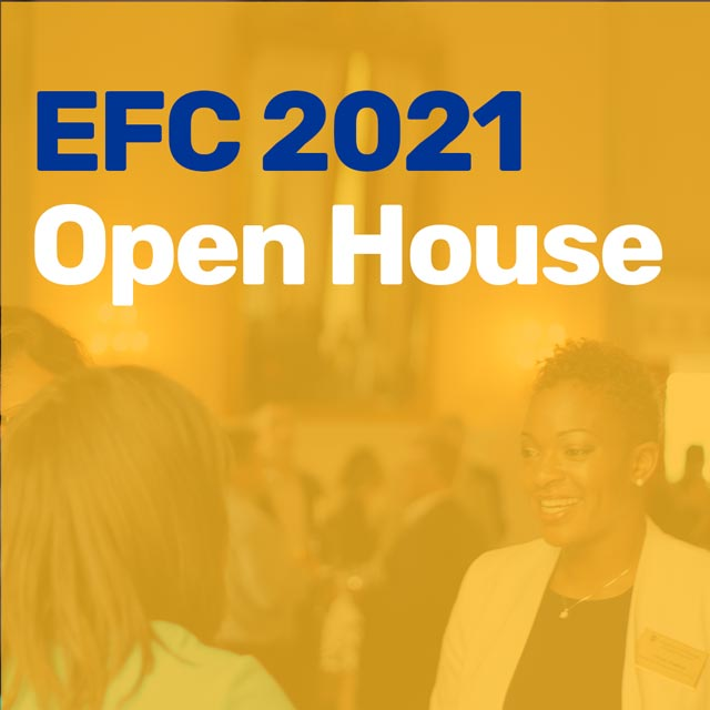 EFC 2021 Open House with yellow overlay over women business professionals speaking at an event