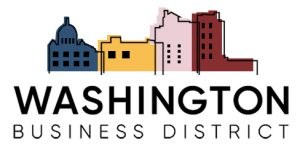 Washington Business District log with building outlines filled in with different colors