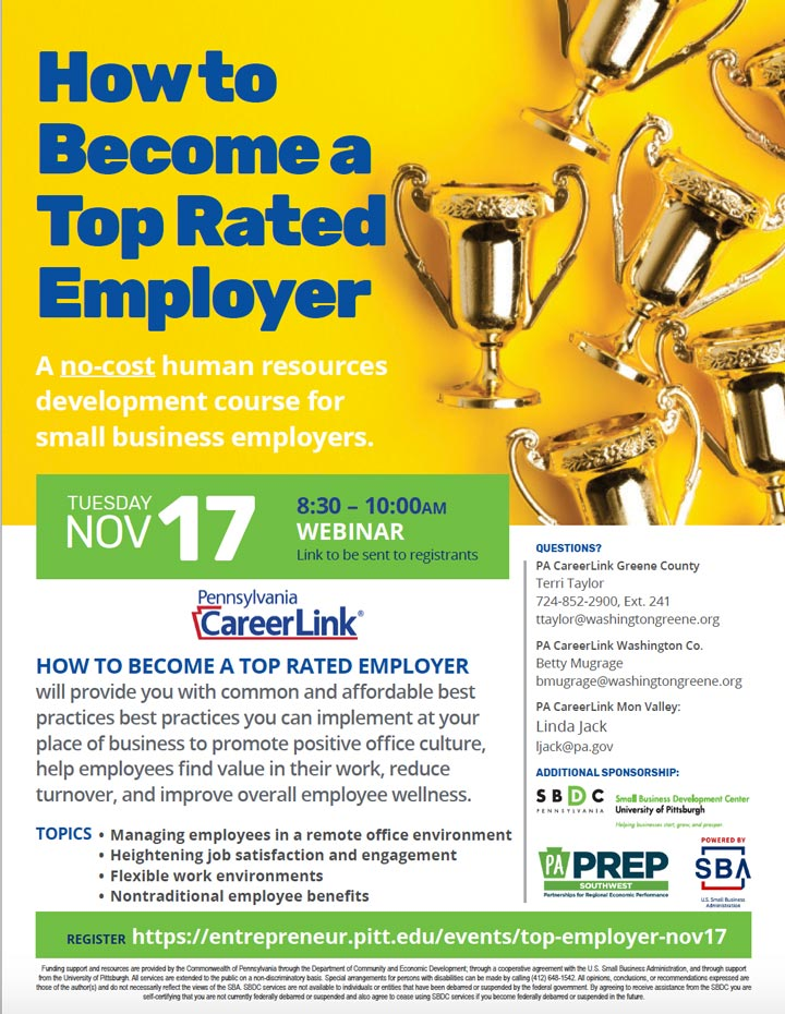 How to Become a Top Rated Employer Pitt SBDC event flyer thumbnail image