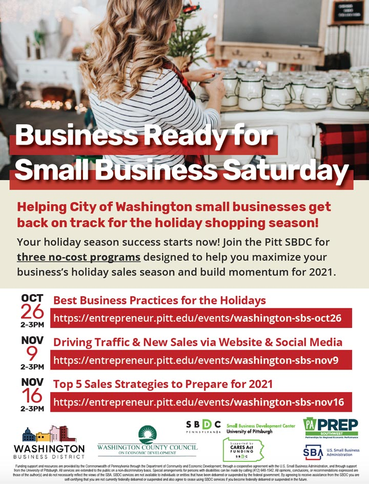 Business Ready for Small Business Saturday flyer with program dates