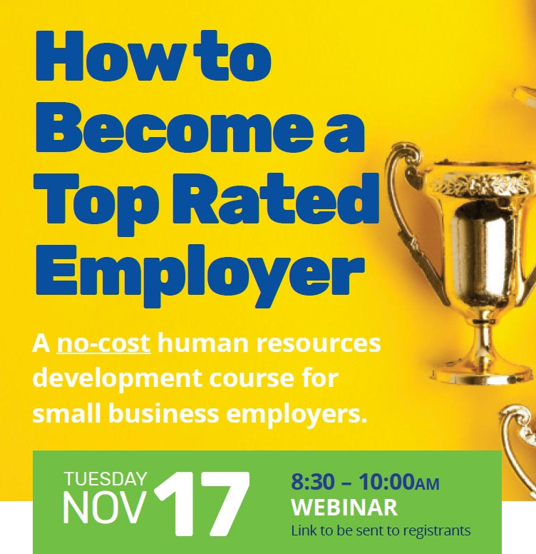 How to Become a Top Rated Employer with gold trophy next to text