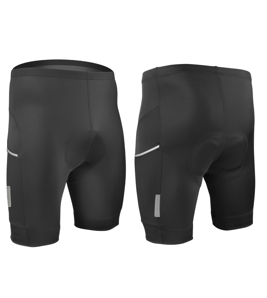 Aero Tech Design cycling shorts black front and back view