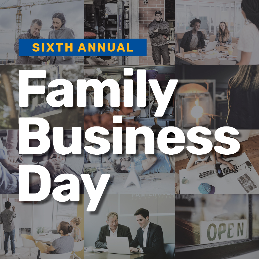 6th Annual Family Business Day graphic with various images of families working together