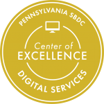 Gold emblem of Pennsylvania SBDC Center of Excellence for Digital Services