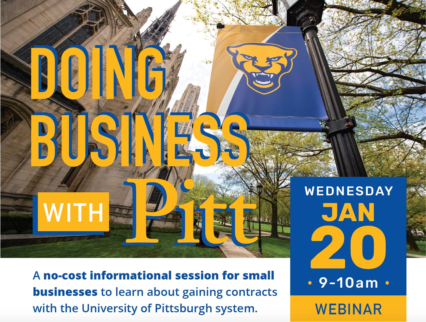 Doing Business With Pitt banner with Jan 20 date