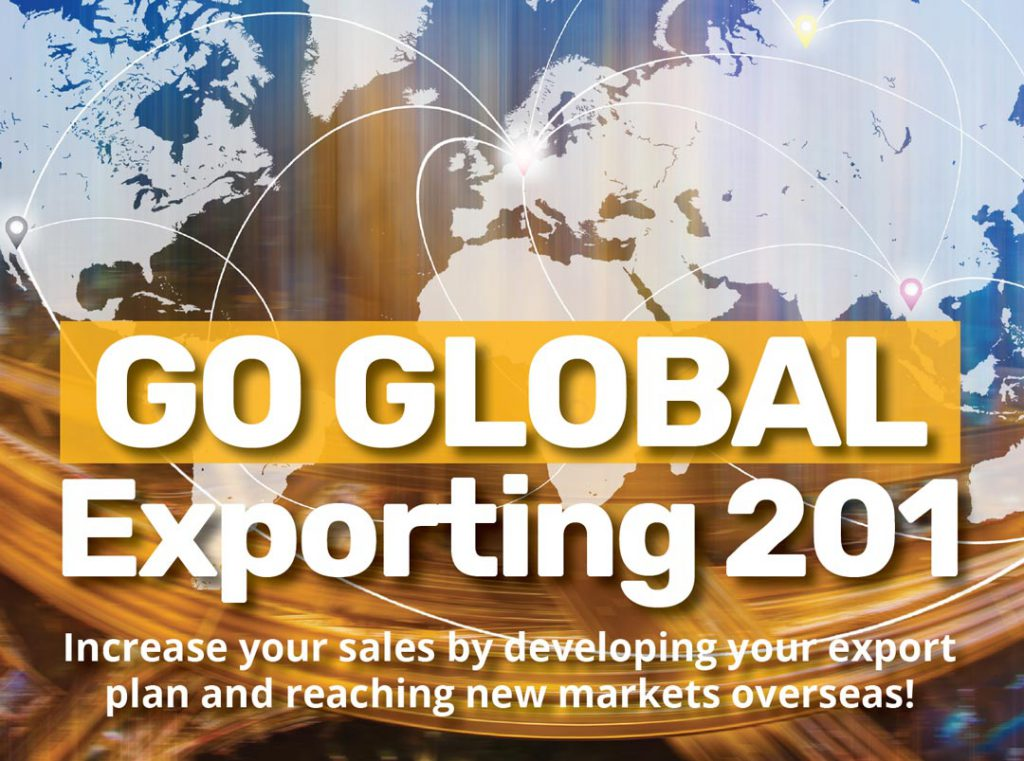 Pitt SBDC Go Global Exporting 201 image with world map and transportation lines around the world