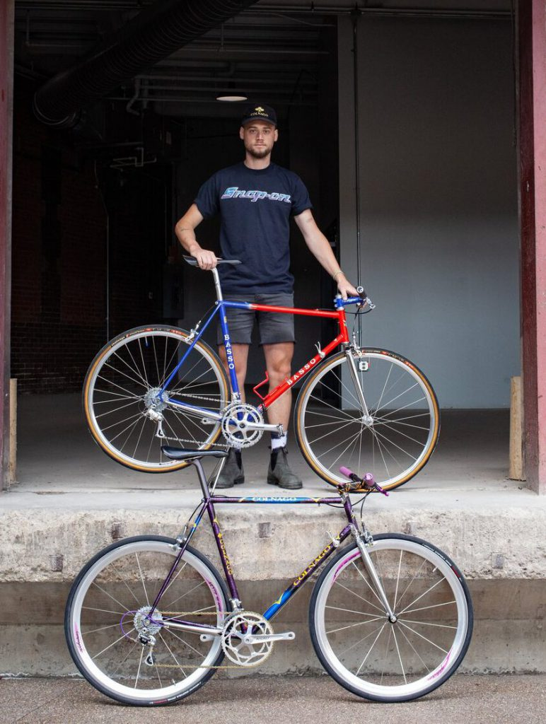 operator of unison bike with two examples of their bike works