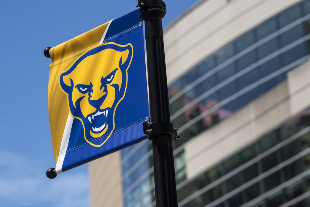 Pitt Panther head flag outside of Petersen Events Center