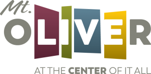 """Mt. Oliver logo with tagline """"At the Center of it all"""""""