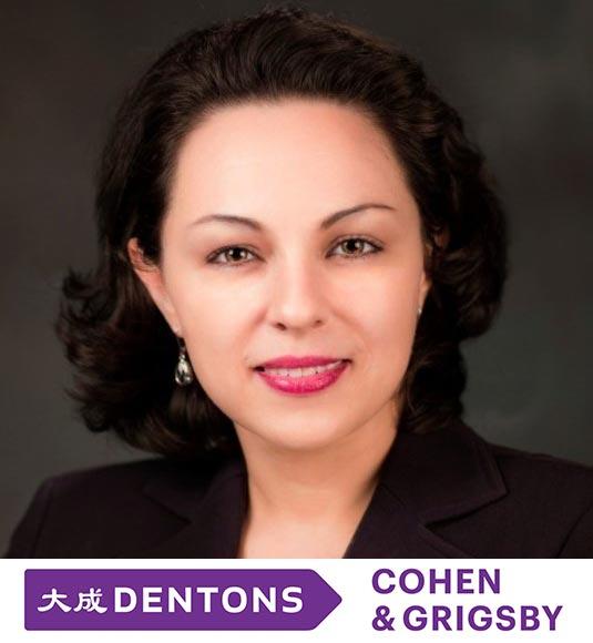 Ana Maria Mieles headshot with Dentons Cohen & Grigsby, P.C. logo below photo