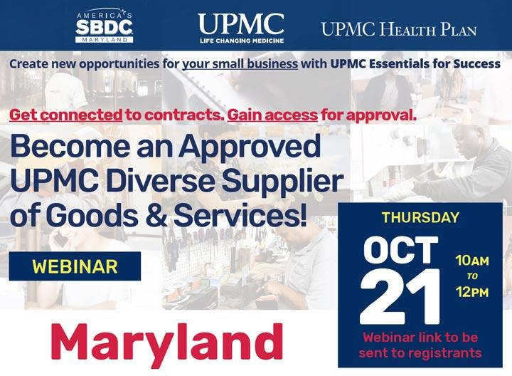 UPMC essentials for Success Maryland webinar event Oct 21