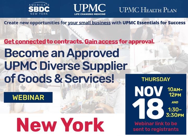 UPMC essentials for success small business vendor webinar November 18